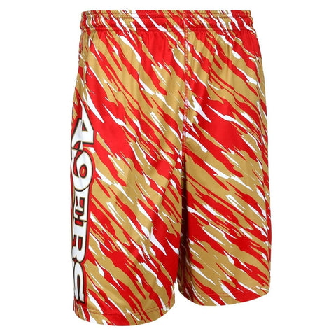 San Francisco 49ers Official NFL Team Logo Polyester Repeat Print Training Shorts