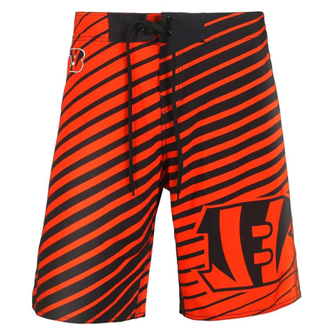 Cincinnati Bengals Official NFL Poly Stripes Swimsuit Boardshorts