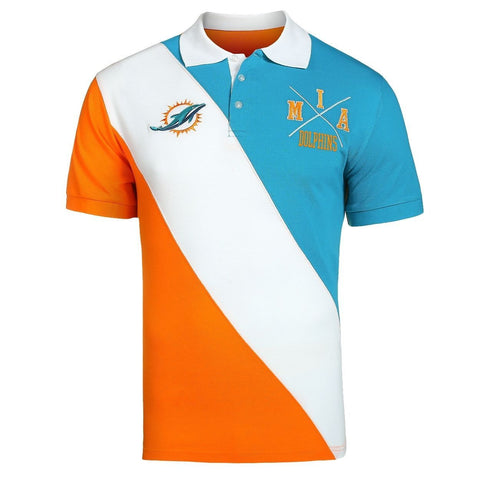 Miami Dolphins Official NFL Diagonal Stripe Polo