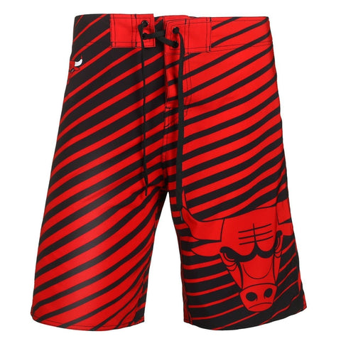 Chicago Bulls Official NBA Poly Stripes Swimsuit Boardshorts