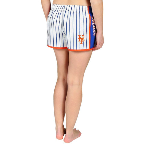 New York Mets Official MLB Womens Comfy Pin Stripe Shorts