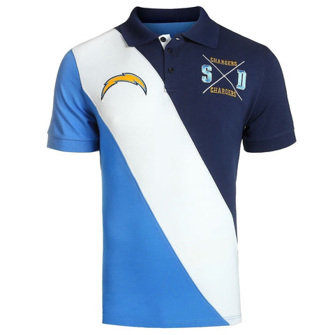 San Diego Chargers Official NFL Diagonal Stripe Polo
