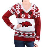 "Arkansas Razorbacks Women's Official NCAA ""Big Logo"" V-Neck Sweater by Klew"
