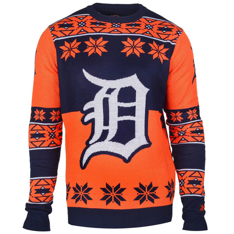 Detroit Tigers Official MLB Big Logo Ugly Crew Neck Sweater