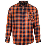 Chicago Bears Wordmark Long Sleeve NFL Flannel Shirt by Klew