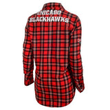 Chicago Blackhawks NHL Wordmark Long Sleeve Women's Flannel Shirt by Klew