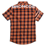 Denver Broncos NFL Wordmark Short Sleeve Flannel Shirt by Klew