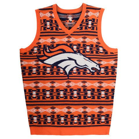 Denver Broncos Official NFL Men's Aztec Sweater Vest by Klew