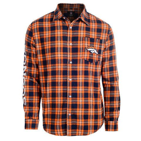 Denver Broncos NFL Wordmark Long Sleeve Flannel Shirt by Klew