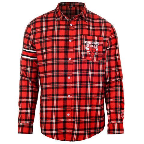 Chicago Bulls NBA Wordmark Long Sleeve Flannel Shirt by Klew