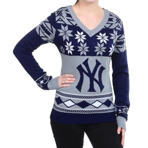 "New York Yankees Women's Official MLB ""Big Logo"" V-Neck Sweater"