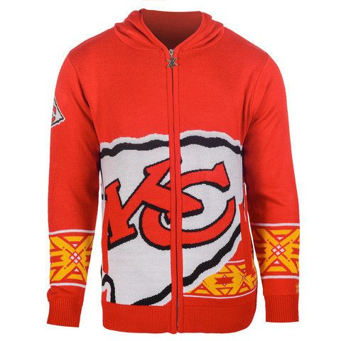 Kansas City Chiefs Official NFL Full Zip Hooded Sweatshirt by Klew