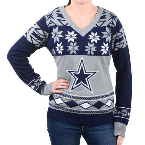 "Dallas Cowboys Women's Official NFL ""Big Logo"" V-Neck Sweater by Klew"