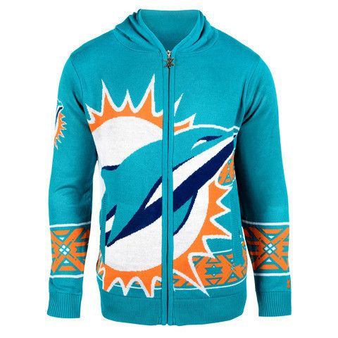 Miami Dolphins Official NFL Full Zip Hooded Sweatshirt by Klew