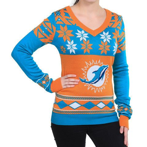 "Miami Dolphins Women's Official NFL ""Big Logo"" V-Neck Sweater by Klew"