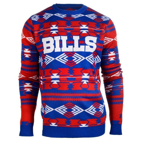 Buffalo Bills NFL Aztec Print Crew Neck Ugly Sweater