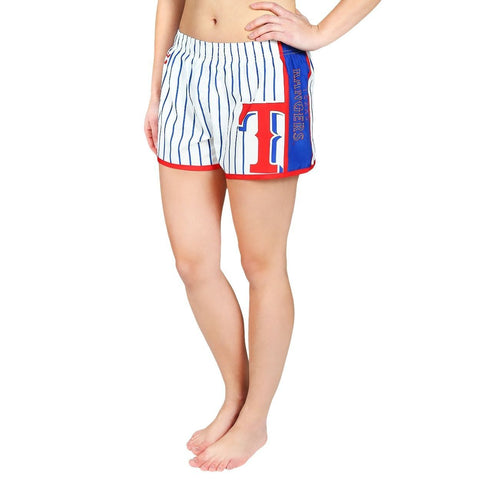 Texas Rangers Official MLB Womens Comfy Pin Stripe Shorts