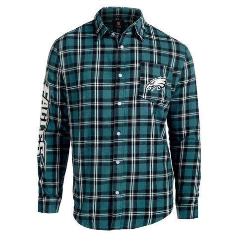 Philadelphia Eagles Wordmark Long Sleeve Men's NFL Flannel Shirt by Klew