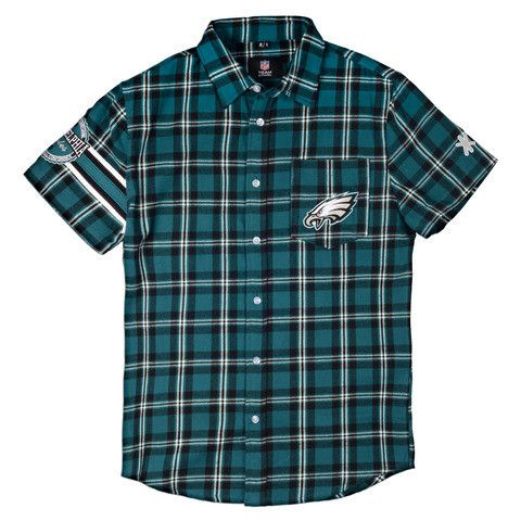Philadelphia Eagles NFL Wordmark Short Sleeve Flannel Shirt By Klew