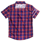 New York Giants NFL Wordmark Short Sleeve Flannel Shirt by Klew