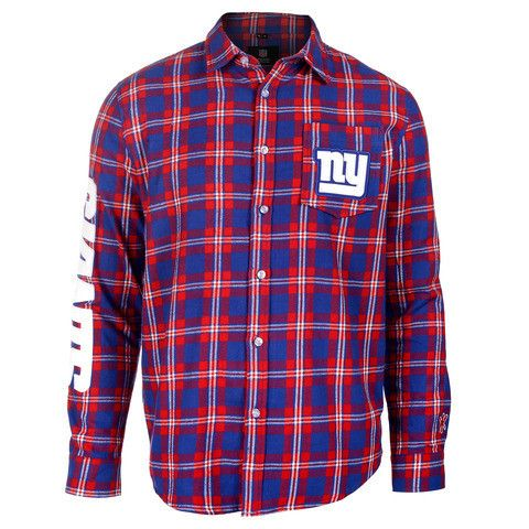 New York Giants Wordmark Long Sleeve NFL Flannel Shirt By Klew