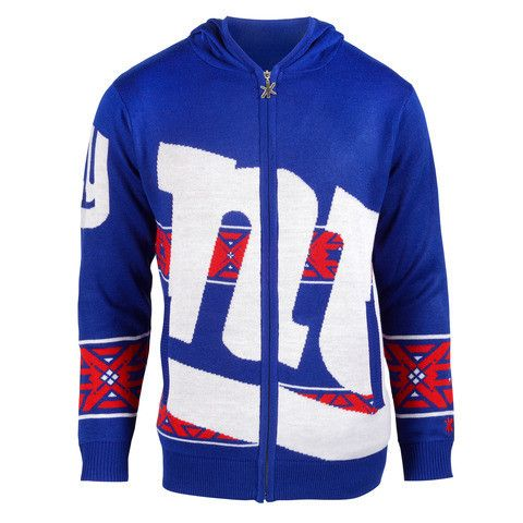 New York Giants Official NFL Full Zip Hooded Sweatshirt By Klew