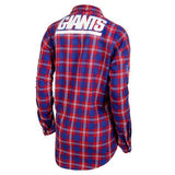 New York Giants Wordmark Long Sleeve Women's NFL Flannel Shirt By Klew