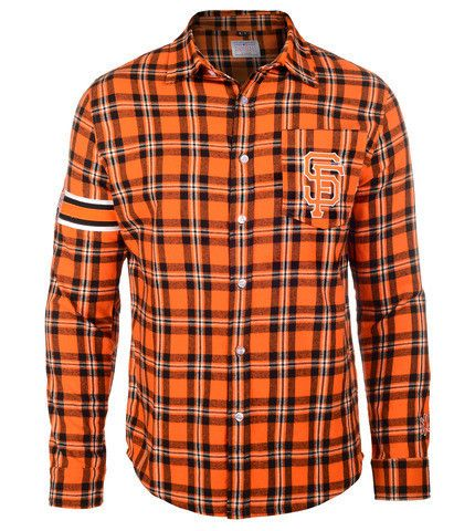 San Francisco Giants Wordmark Long Sleeve MLB Flannel Men's Shirt by Klew
