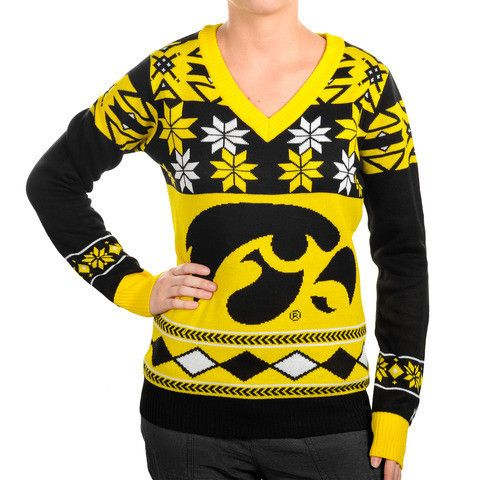 "Iowa Hawkeyes Women's Official NCAA ""Big Logo"" V-Neck Sweater by Klew"