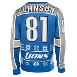"Detroit Lions Calvin Johnson Official NFL ""Ugly Sweater"" by Klew"