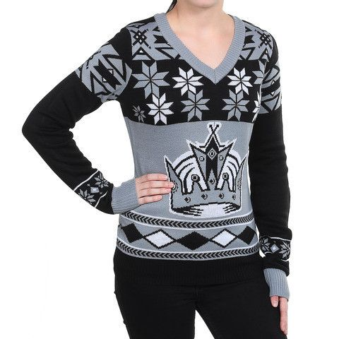 "LA Kings Women's Official NHL ""Big Logo"" V-Neck Sweater by Klew"