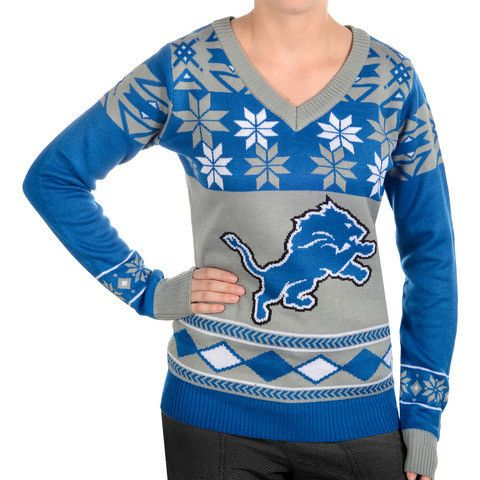 "Detroit Lions Women's Official NFL ""Big Logo"" V-Neck Sweater by Klew"