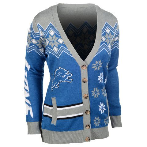 "Detroit Lions Calvin Johnson Official NFL ""Ugly Sweater"" Cardigan"