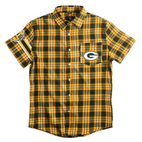 Green Bay Packers NFL Wordmark Short Sleeve Flannel Shirt by Klew - Large
