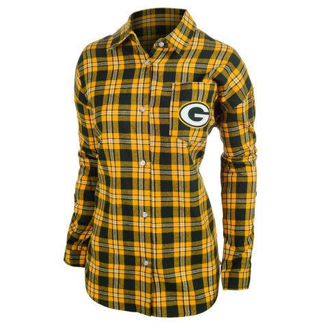 Green Bay Packers NFL Wordmark Long Sleeve Women's Flannel Shirt by Klew