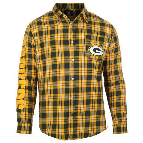 Green Bay Packers NFL Wordmark Long Sleeve Men's Flannel Shirt by Klew