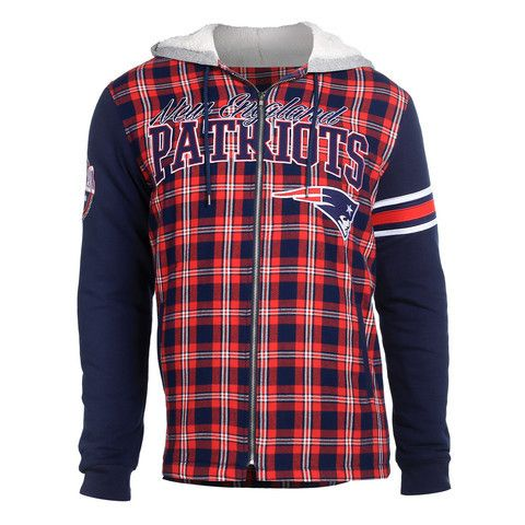 New England Patriots Flannel Hoodie Jacket by Klew