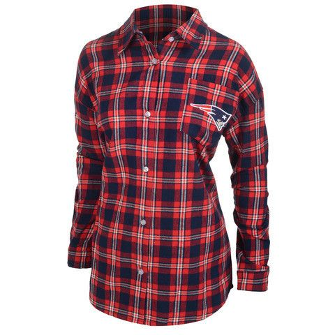 New England Patriots Wordmark Long Sleeve NFL Women's Flannel Shirt by Klew
