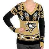 "Pittsburgh Penguins Women's Official NHL  ""big Logo"" V-neck Sweater By Klew"
