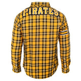 Pittsburgh Pirates Wordmark Long Sleeve NFL Flannel Shirt by Klew