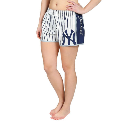 New York Yankees Official MLB Womens Comfy Pin Stripe Shorts