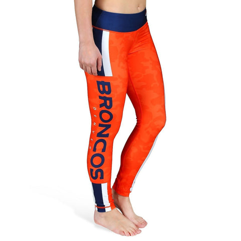 Denver Broncos Official NFL Team Logo Womens Stripe Leggings
