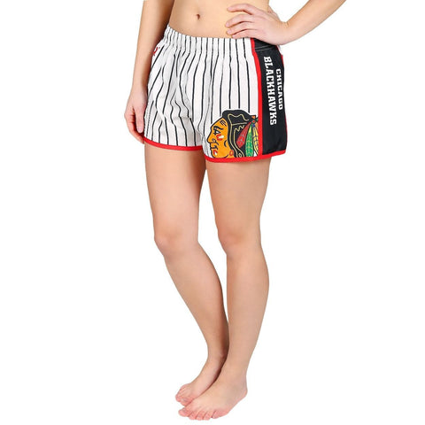 Chicago Blackhawks Official NHL Womens Comfy Pin Stripe Shorts