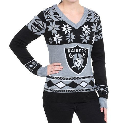 "Oakland Raiders Women's Official NFL ""big Logo"" V-neck Sweater By Klew"