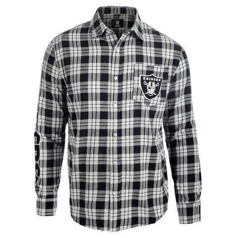 Oakland Raiders Wordmark Long Sleeve NFL Flannel Shirt By Klew