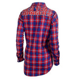 New York Rangers Wordmark Long Sleeve Women's NHL Flannel Shirt By Klew
