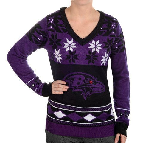 "Baltimore Ravens Women's Official NFL ""Big Logo"" V-Neck Sweater by Klew"