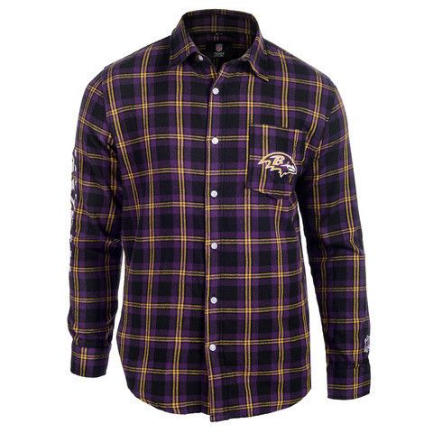 Baltimore Ravens NFL Wordmark Long Sleeve Flannel Shirt by Klew