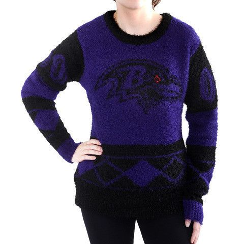 Baltimore Ravens Official NFL Women's Eyelash Sweater by Klew