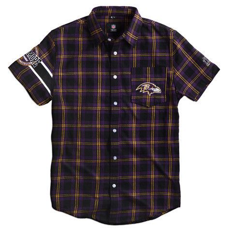 Baltimore Ravens NFL Wordmark Short Sleeve Flannel Shirt by Klew